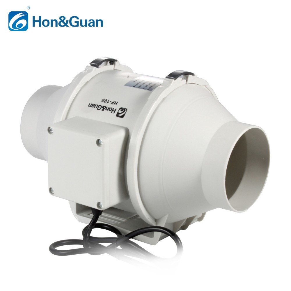 Hon Guan 4 Extractor Fan High Efficiency Mixed Flow Ventilation System Exhaust Air for Bathroom Inline