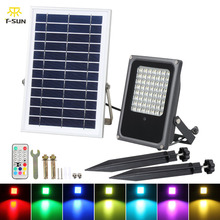 T SUNRISE RGB Solar Flood Light with Solar Panel 50W RGB Color Changing LED Light Solar Spotlight Garden Light Outdoor