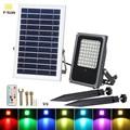 T-SUNRISE RGB Solar Flutlicht mit Solar Panel 50 W RGB Farbwechsel LED-Licht Solar Scheinwerfer Garten Licht Im Freien