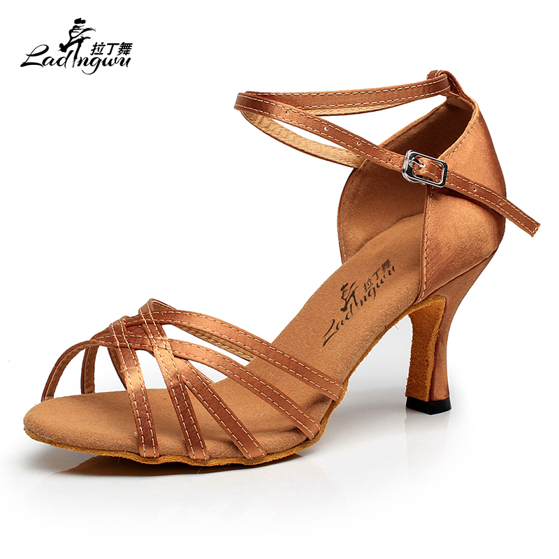 Ladingwu Free Shipping Brown Satin Women Latin Dance Shoes Soft Bottom Sandals Ballroom Tango Dance Shoes Numbering 7127