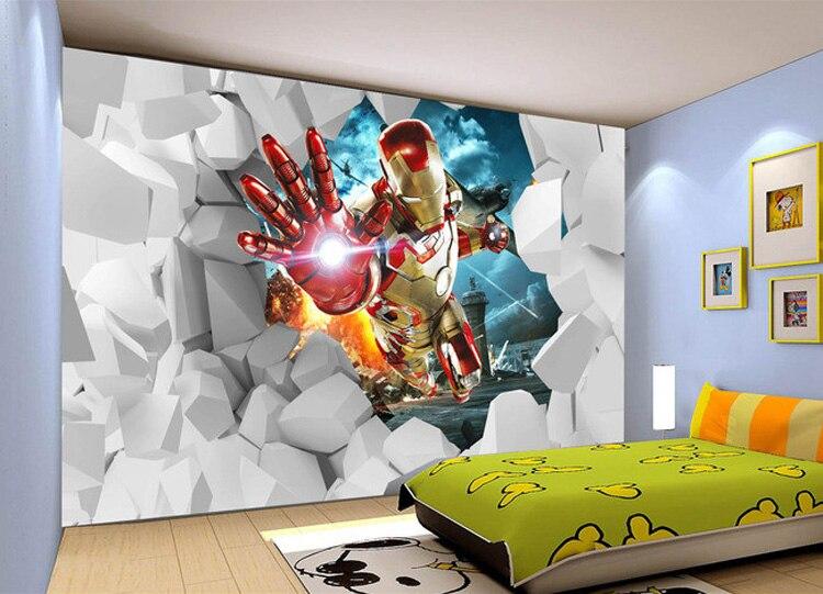 getSubject   aeProduct. 3D Iron Man Wallpaper Custom Waterproof photo wallpaper Marvel