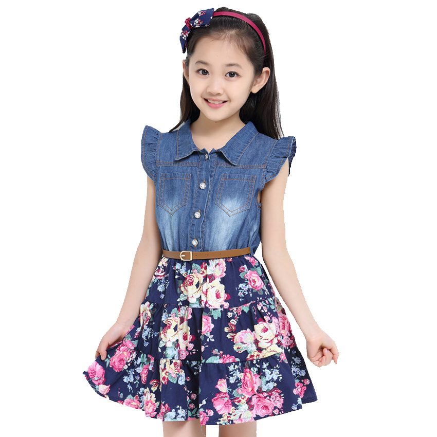 Summer Kids Dresses For Girls Denim Princess Dresses For Party And Wedding Students Floral Birthday Dresses 2 4 6 8 10 12 Years summer 2017 new girl dress baby princess dresses flower girls dresses for party and wedding kids children clothing 4 6 8 10 year