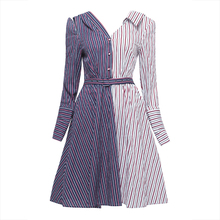 Young17 Autumn Dress Women Blue Casual Asymmetric Striped Patchwork Color Block Knee-Length V Neck Dress Fall A-Line Dress