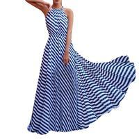Women Sleeveless Striped Loose Dress Beach Party Casual Sundress White Blue Fashion Summer Clothes Female Beautiful Long Maxi