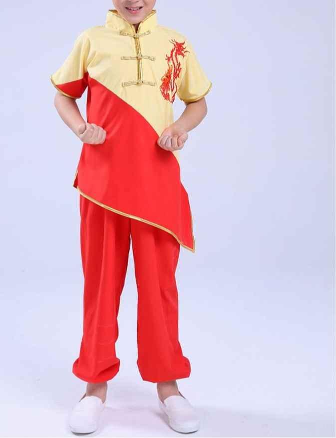 Nova 3 cor Bordado dragão crianças uniformes de artes marciais tai chi kung fu wushu taiji crianças roupas de manga curta ternos