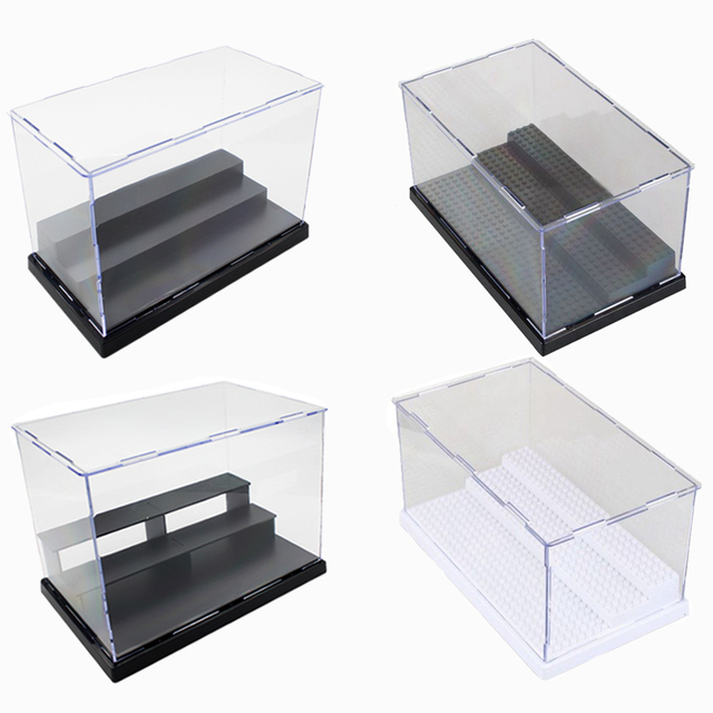 5 Types Acrylic Building Blocks Display Box Showcase Self Embly Case Cabinets Plastic Bricks Base