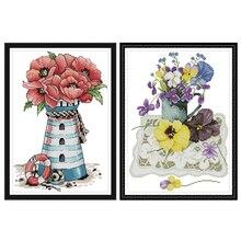 Joy Sunday,Flowers,cross stitch embroidery set,printing cloth kit,needlework,DIY Flowers cross kit
