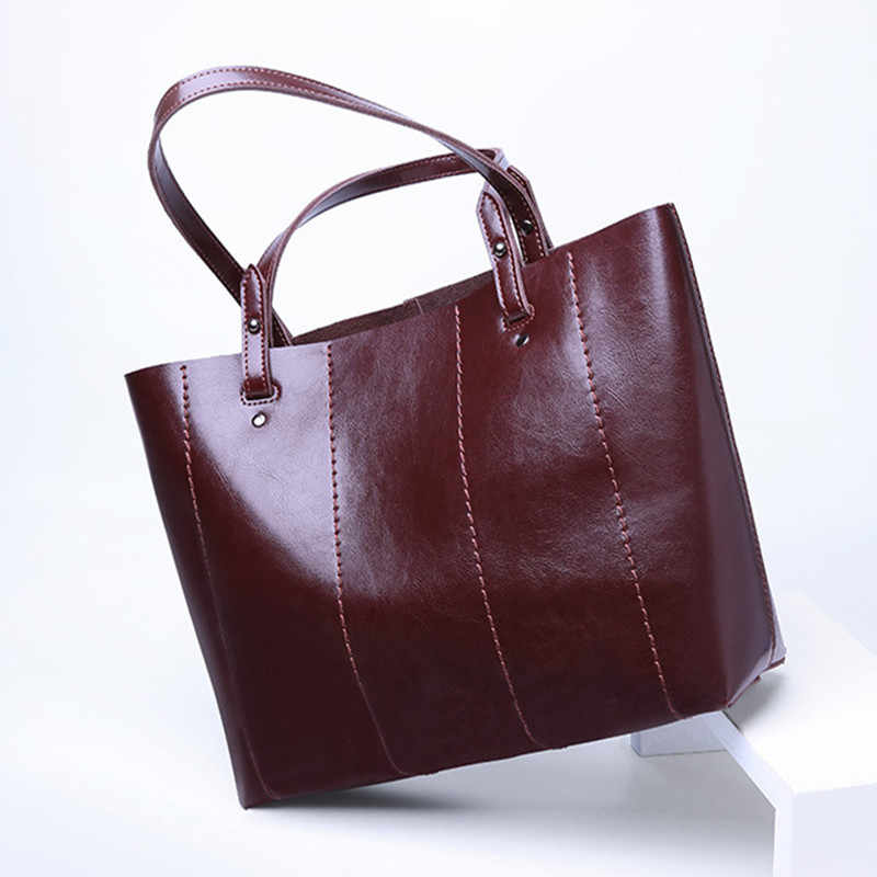2019 New Spring&Autumn Fashion Style Women's Bag Handbag Casual Genuine Leather Shoulder Bag Oil Waxing Tote bags