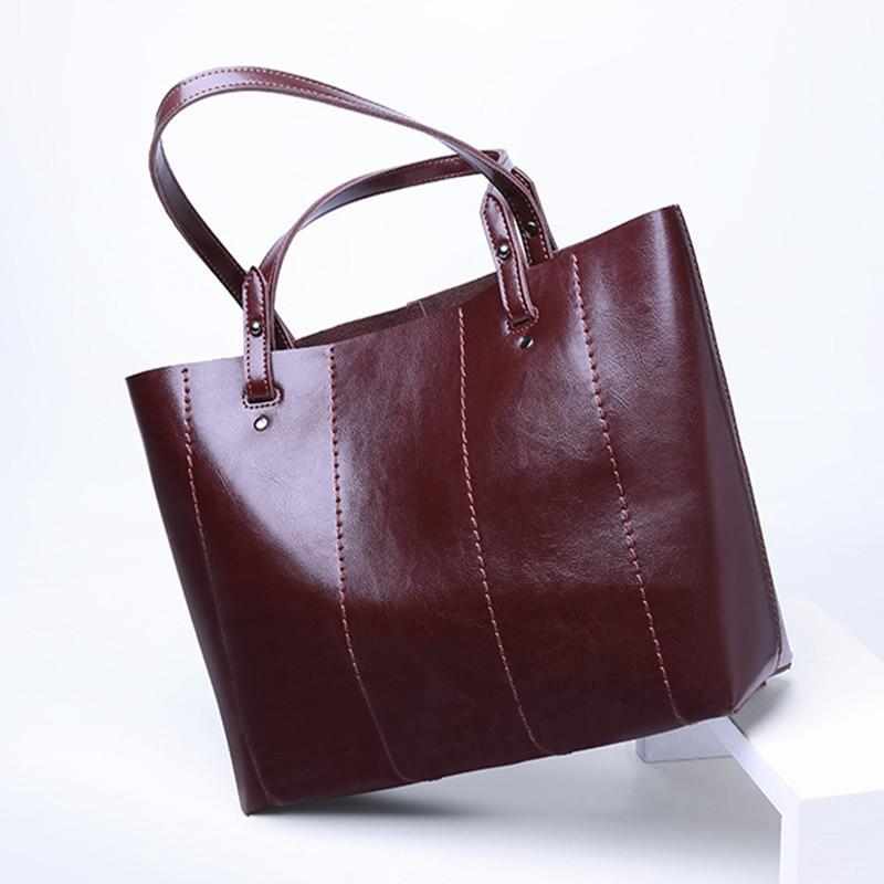 Bagaj ve Çantalar'ten Üstten Saplı Çanta'de 2019 Yeni Bahar ve Sonbahar Moda Stil Kadın Çanta Çanta Rahat Hakiki Deri omuzdan askili çanta Yağ Balmumu Tote çanta'da  Grup 1