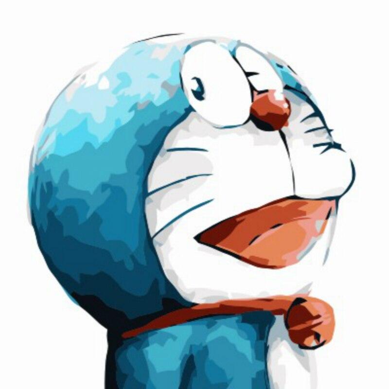 Anime Doraemon Lukisan Minyak Dengan Angka Lucu Kartun Lukisan Diy