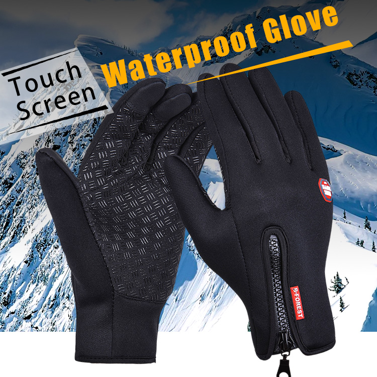 Outdoor Sports Windstopper Waterproof Gloves Black Riding Glove Motorcycle Gloves Touch Screen Black Full Finger Men