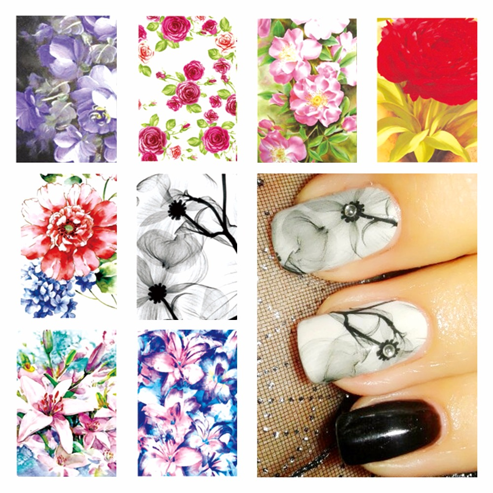 LCJ New Fashion Chic Pattern DIY Water Transfer Nail Art Stickers Decals Wraps Salon Beauty Manicure Styling Tool 3d 12 candy colors glass fragments shape nail art sequins decals diy beauty salon tip free shipping