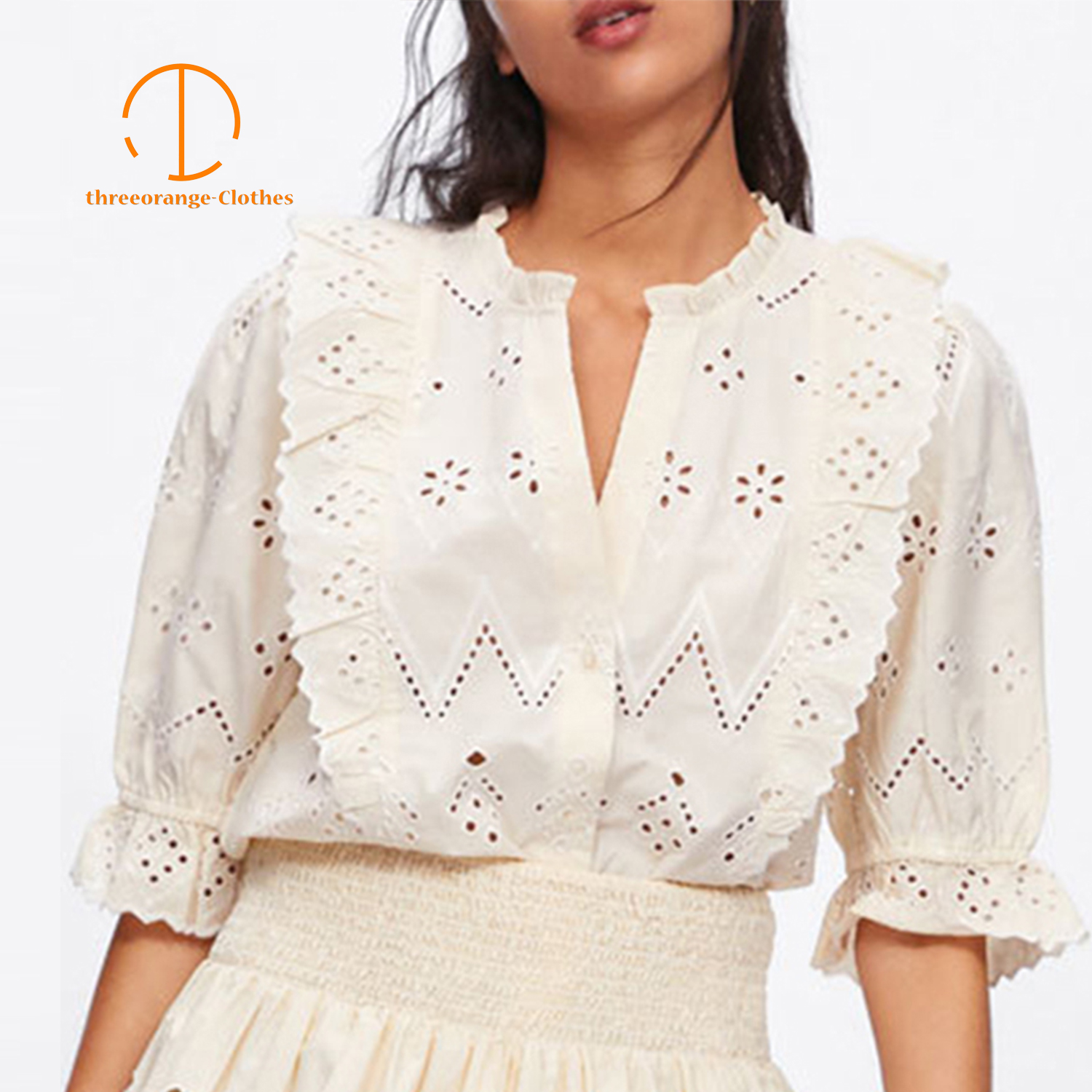 New Fashion Summer women beige   blouse     shirt   hollow out embroidery lotus leaf clothing easy-matching comfort Casual loose   blouses