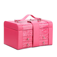 RPOMOTION Rose Velvet Jewelry Box Necklaces Earings Vintage 2 Drawers Storage Case Large Crocodile Leather Display Mirror Lock
