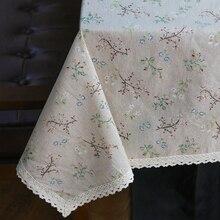 Mantel de lino diente de león de moda Flor de estilo campestre impresión multifuncional mantel rectangular con borde de encaje