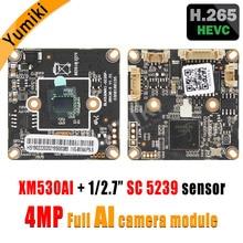 H.265AI/H.265 +/H.264 4MP 2560*1440 пикселей XM530AI + SC5239 1/2. 7 «CMOS сенсор IP Камера плате модуля ONVIF xmeye