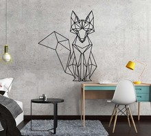 Nordic Geometric Fox Vinyl Wall Stickers Decals For Kids Rooms Home bedroom Decor living Room Decoration Mural wallstickers bedroom wall decor deer wall stickers for kids rooms door stickers muraux home living room house decoration accessories