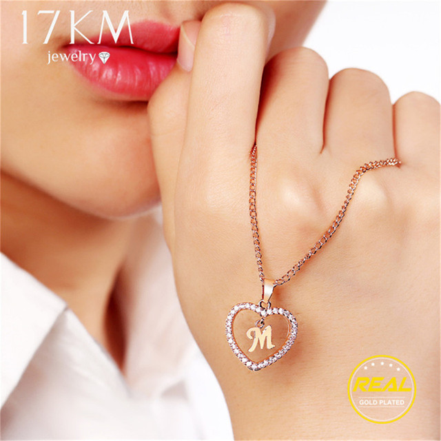 17KM Fashion DIY Letter Custom Pendant Necklaces For Women Girl Long Rose Gold Sliver Heart Necklace Statement Jewelry Gifts
