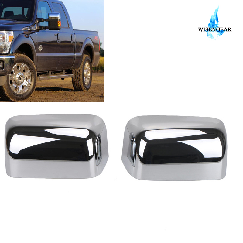 Chrome Mirror Covers 2008-2016 FORD F250 F350 SUPERDUTY TOWING Top Half Overlays