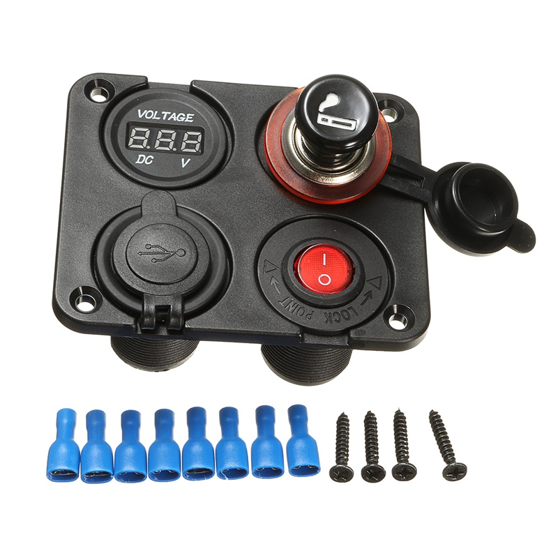 Car Cigarette Lighter Socket Splitter Marine Car RV Truck 4 Hole Panel Dual USB Charger Voltmeter 12V Socket Switch Black tie dye asymmetrical t shirt dress with long sleeve