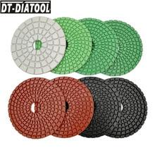 DT-DIATOOL 8pcs Diameter 100mm Polish Disc Diamond polishing Pads For Marble or Concrete 4inchX3mm flexible Wet High Quality 4