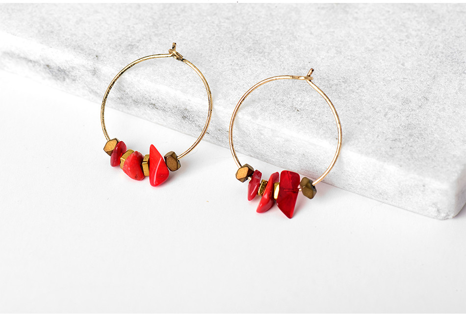HTB1dWbIQFXXXXafXpXXq6xXFXXXY - Women Trendy Red Natural Stone Pendant Round Hoop Earrings Vintage Antique Gold Circle Hoop Earrings Jewelry