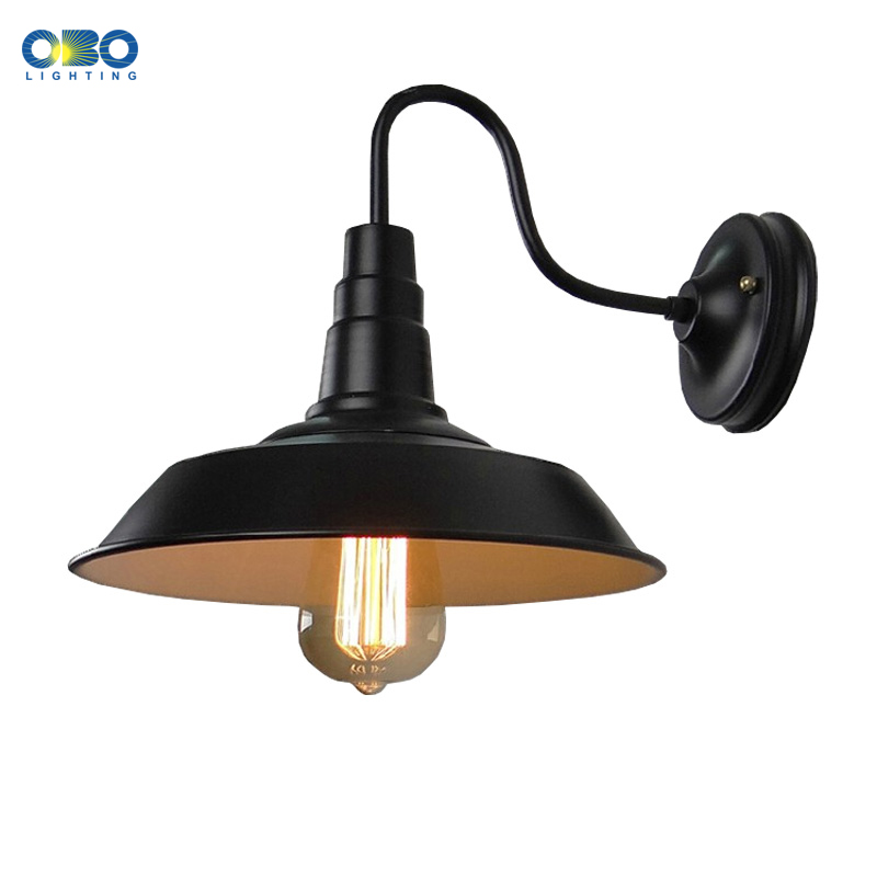 Vintage Black Painted Outdoor Iron Wall Lamp Bar Warehouse Aisle Wall Lighting E27 Lamp Holder 110-240V Free Shipping