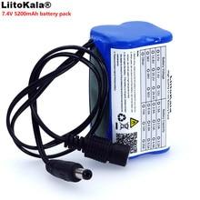 LiitoKala حماية 7.4 فولت 5200 مللي أمبير 8.4 فولت 18650 بطارية لي لون أضواء الدراجة رئيس مصباح بطارية خاصة حزمة DC 5.5*2.1 ملليمتر