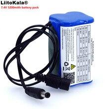 LiitoKala Schützen 7,4 v 5200 mah 8,4 v 18650 Li lon Batterie bike lichter Kopf lampe spezielle batterie pack DC 5,5*2,1mm