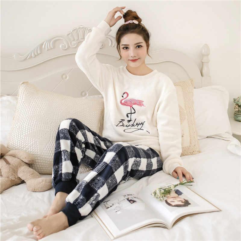 0b8c516b3e Detail Feedback Questions about Women pajamas set Pajama Female Winter  Thick Pajama Flannel Sexy Rose Print Warm Winter Women Pajama Set Long  Sleeve Full ...
