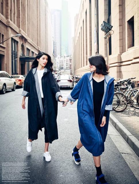 Diseño de moda Estilo Coreano Ocasional Sólido Cintura Ajustable Trench Abrigos de Alta Calidad de Vaquero de La Vendimia de Gran Tamaño de Manga Larga Con Capucha