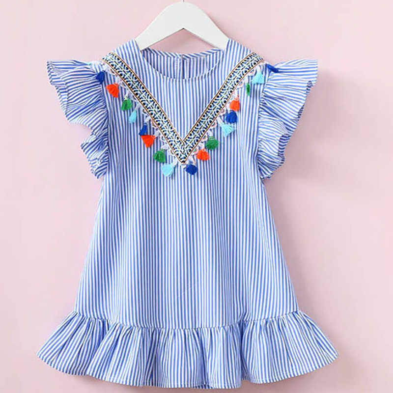 Girls Dress Summer Girls Clothing Tassel Flying Sleeve Stripe Cute Kids Party Dresses for Girls Princess Dress Tops Clothes