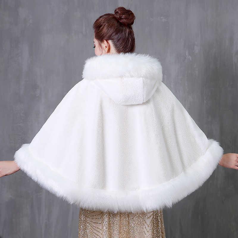 JaneVini 2018 แขนสั้นยักไหล่สำหรับผู้หญิงฤดูหนาว Faux Fur Wedding Wraps Bolero Fourrure เจ้าสาวสีขาว Cape Coat Abrigos Novia