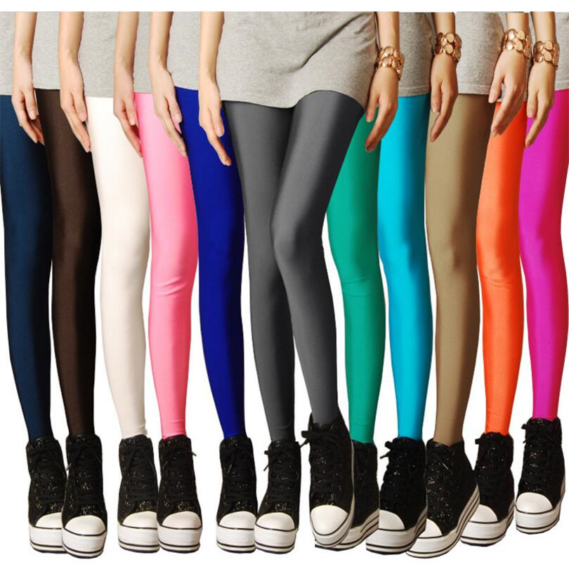 Neon-Leggings Pants Clothing Plug-Size Candy Girl High-Stretched Women New Solid Spring