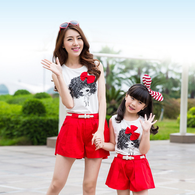 Hot Sale Family Clothing Set Mother and Daughter Clothes Kids Clothing Sets roupas de crianca roupas para meninos cartoon tshirt
