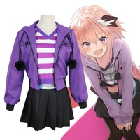 2019 Game Fate Apocrypha Astolfo Cosplay Costumes Pink Wig Women Purple Jacket Spring Coat For Halloween Party