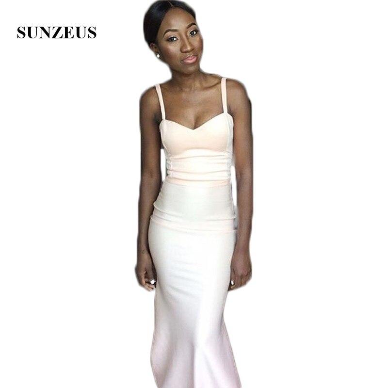 Spaghetti Straps Sheath Bridesmaid Dresses 2018 African Wedding Guest Dresses Long Prom Dresses Black Girls Party Dresses SBD72