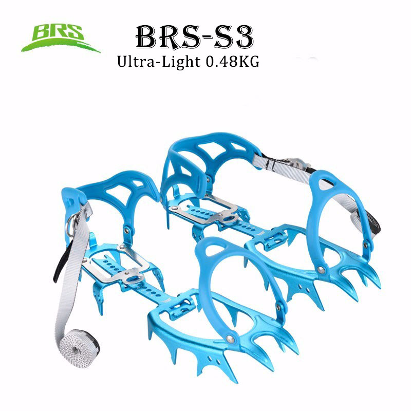 BRS-S3 14 dents griffes ultra-légères Crampons chaussures antidérapantes housse aluminium pince à glace pour Ski extérieur glace randonnée escalade