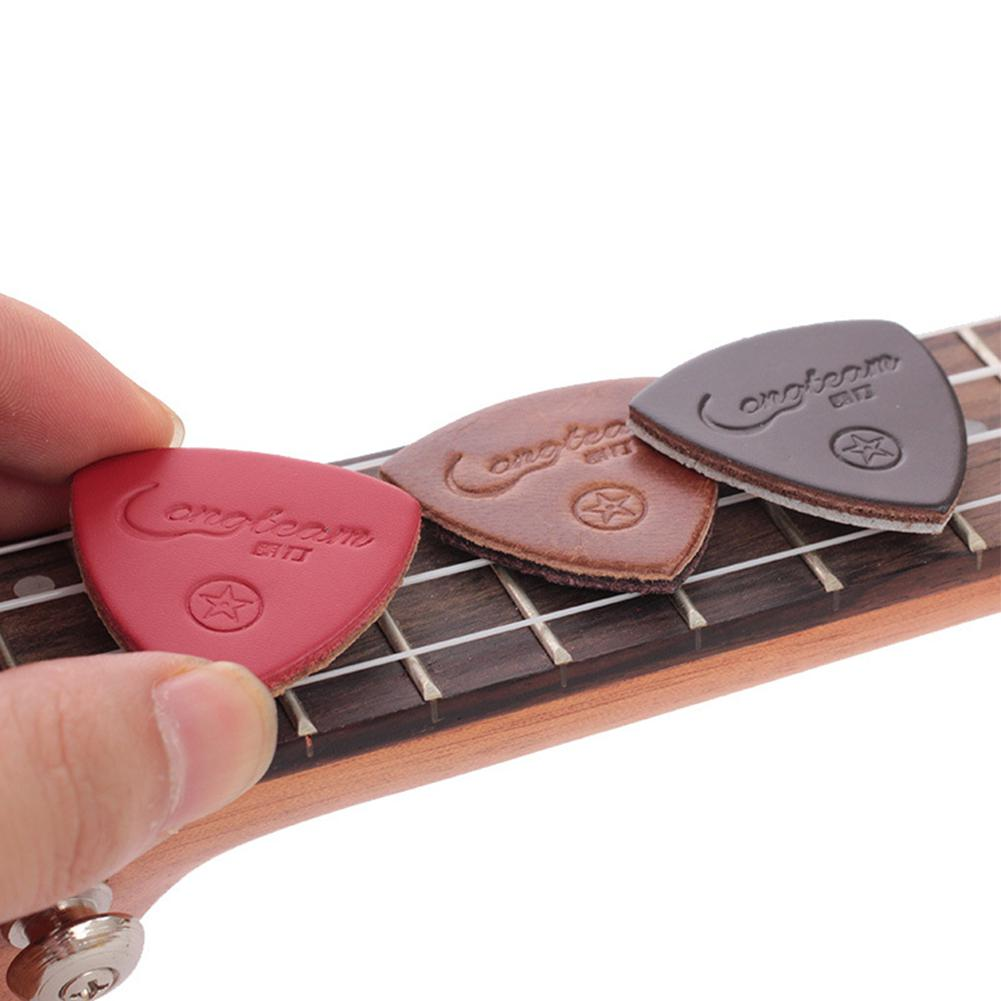Dragonpad 3 шт. гитарные пики, Кожаные Гитарные пики, треугольные пики из искусственной кожи для укулеле, гитарные банки случайных цветов