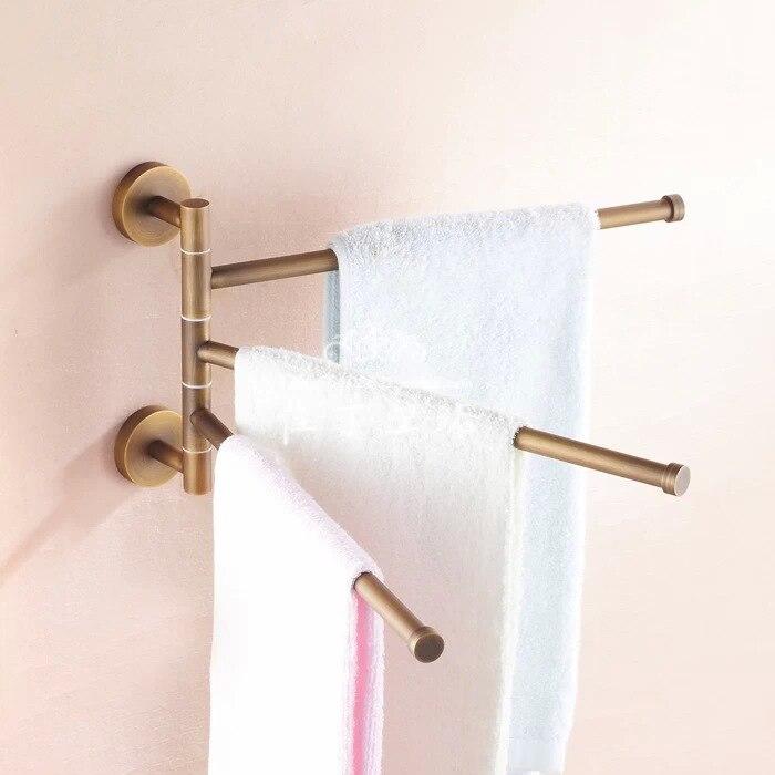BECOLA European towel rack Toilet towel bar Bathroom antique rotary towel bar Antique activities towel 3 bar BR-88013 continental gold product towel rack bar activities multi pole design