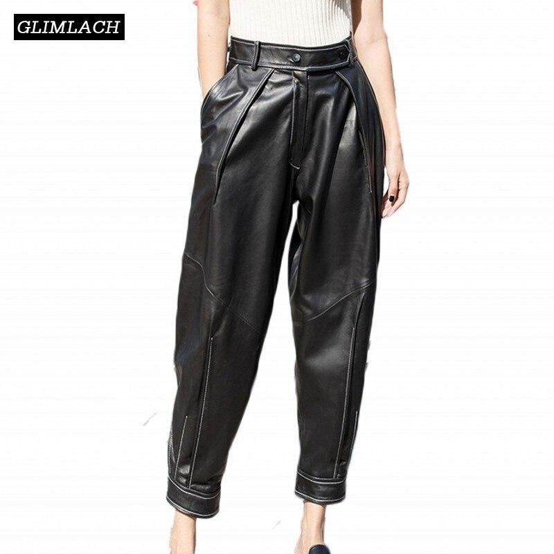 Black Mujeres Cintura Alta Cuero Negro Piel Streetwear Lápiz De Real Gran Harén Tamaño Las Pantalones Suelto Oveja Genuino n8qfOwCqTx