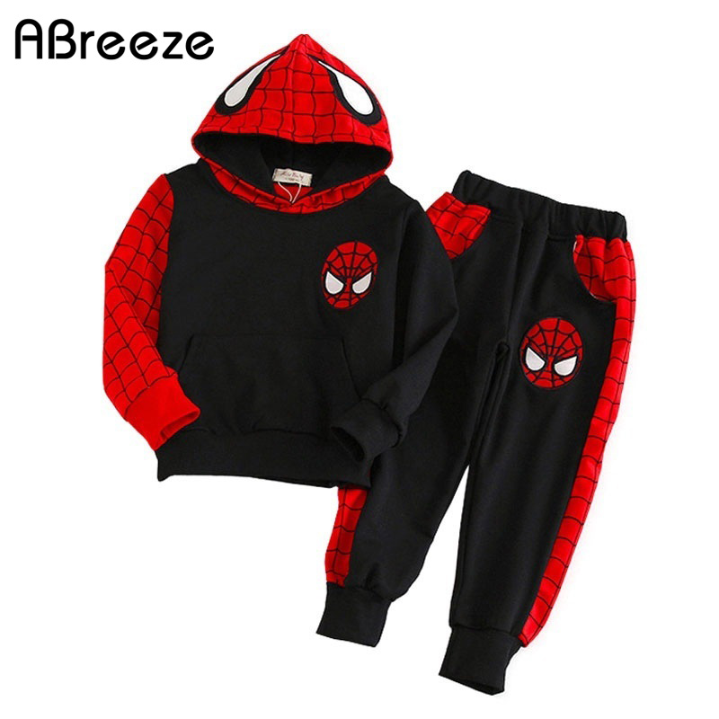 2017 New 3-7T children's clothing sets fashion Spider-Man spring autumn clothes for boys casual kids hooded clothes 2PCS set superior spider man volume 3