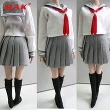 4c118b80b939 Custom 1/6 Female Clothes Students School Uniform & Socks Set 3 Colors for  12