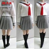 Custom 1/6 Female Clothes Students School Uniform & Socks Set 3 Colors for 12 inches PH,HT,Kumik Body Figures