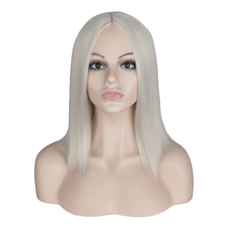 QQXCAIW Short Bob Wig Straight Sliver White Blonde Cosplay Party Costume High Temperature Fiber Synthetic Hair Wigs