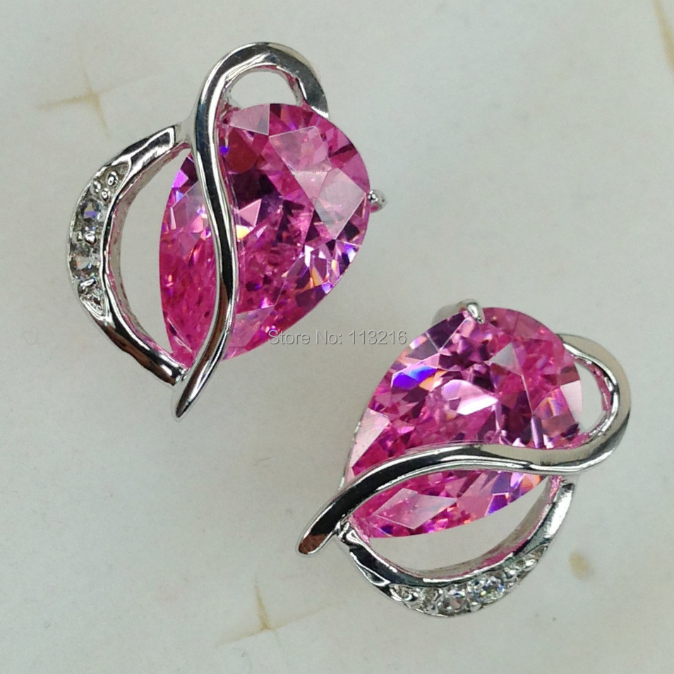 Fleure Esme Romantic Style Women Jewelry Gift Pink Cubic Zirconia Jewelry Silver Plated Earrings R871 Best Sellers Panic buying