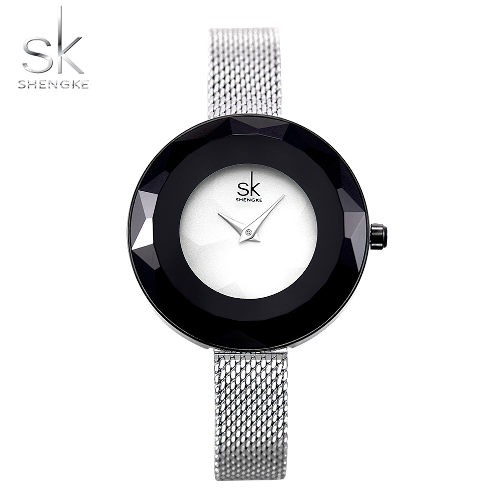 2019 Shengke Prism Face Ladies Watches Fashion Luxury Silver Steel Mesh Quartz Women Wrist Watch Top Brand Clock Feminino Gift in Women 39 s Watches from Watches