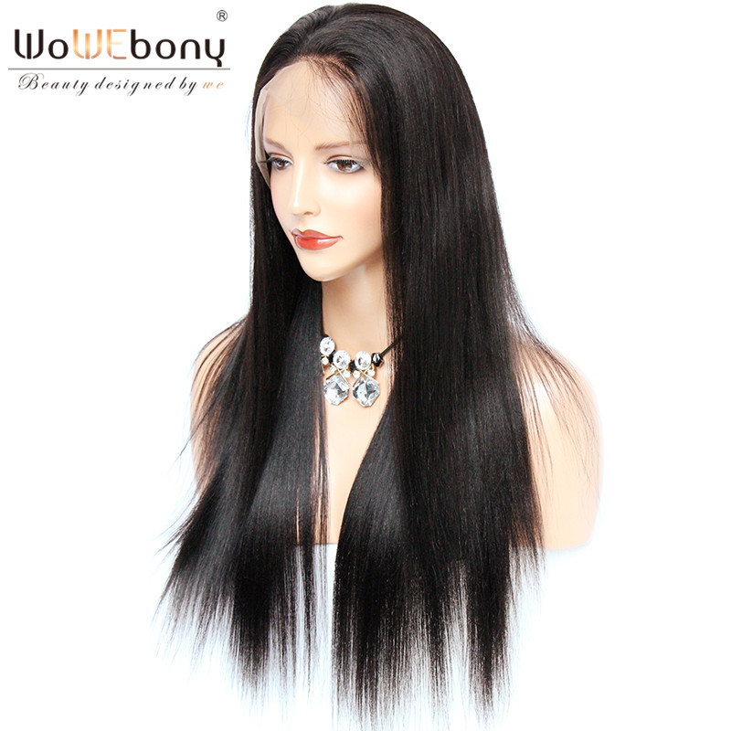 Lace Wigs Honest Wowebony Silky Straight Lace Front Wigs With Baby Hair Brazilian Remy Human Hair Pre Plucked Natural Hairline Bleach Knots Good For Energy And The Spleen
