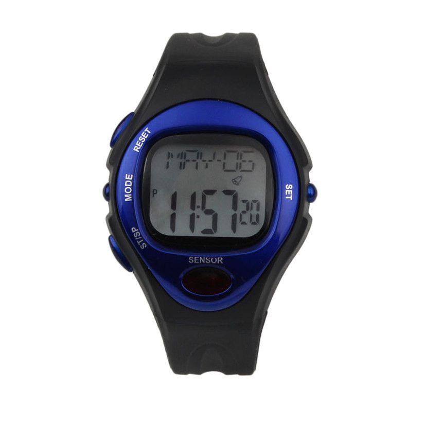 Digital LCD Pulse Heart Rate Monitor Calories Counter Fitness Watch Watches Men's Quartz LED Hour Analog Clock Male Full  4+ multifunction pulse heart rate calorie wrist watch silver black