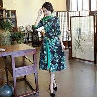 2018グリーン伝統的な中国スタイルのイブニングドレス女性サテンプリント花スリム袍ヴィンテージエレガントプラスサイズ3xlチャイナ